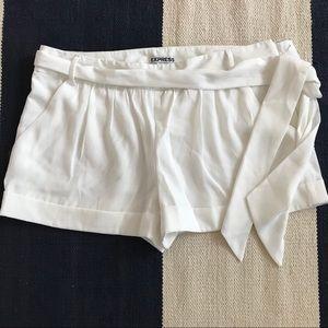 Express White Tie Waist Shorts